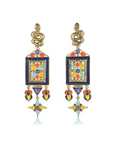 Brushed Gold-tone w Multicolor Beads Long Clip-On Earrings - Roberto Cavalli
