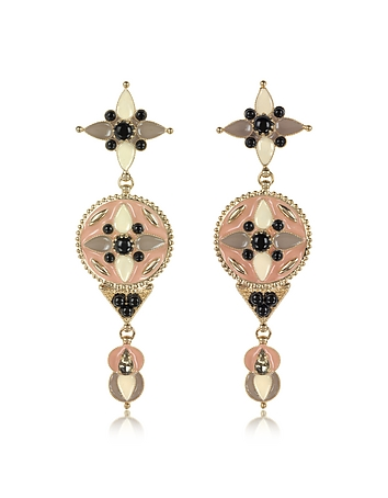 Roberto Cavalli - Gold-tone and Enamel w/Multicolor Crystals Long Earrings
