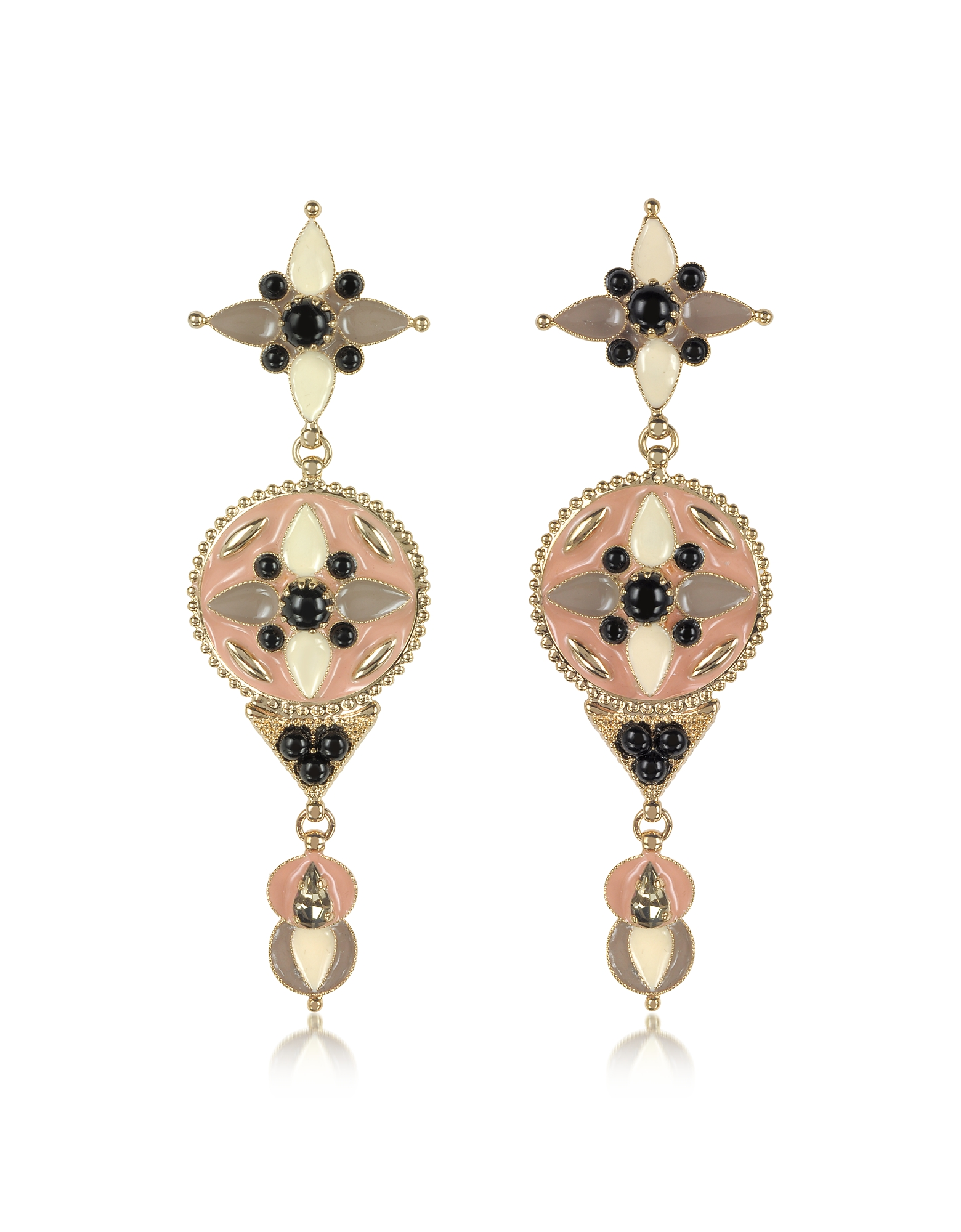 Roberto Cavalli Earrings, Gold-tone and Enamel w/Multicolor Crystals Long Earrings