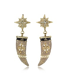 Gold-tone Brass, Enamel and Crystals Horn Earrings - Roberto Cavalli