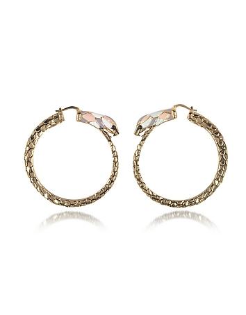 Roberto Cavalli - Gold Tone Metal and Multicolor Enamel Snake Hoop Earrings
