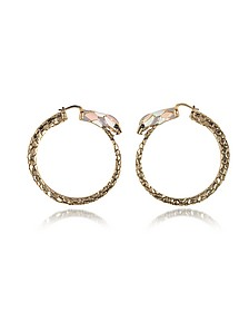 Gold Tone Metal and Multicolor Enamel Snake Hoop Earrings - Roberto Cavalli