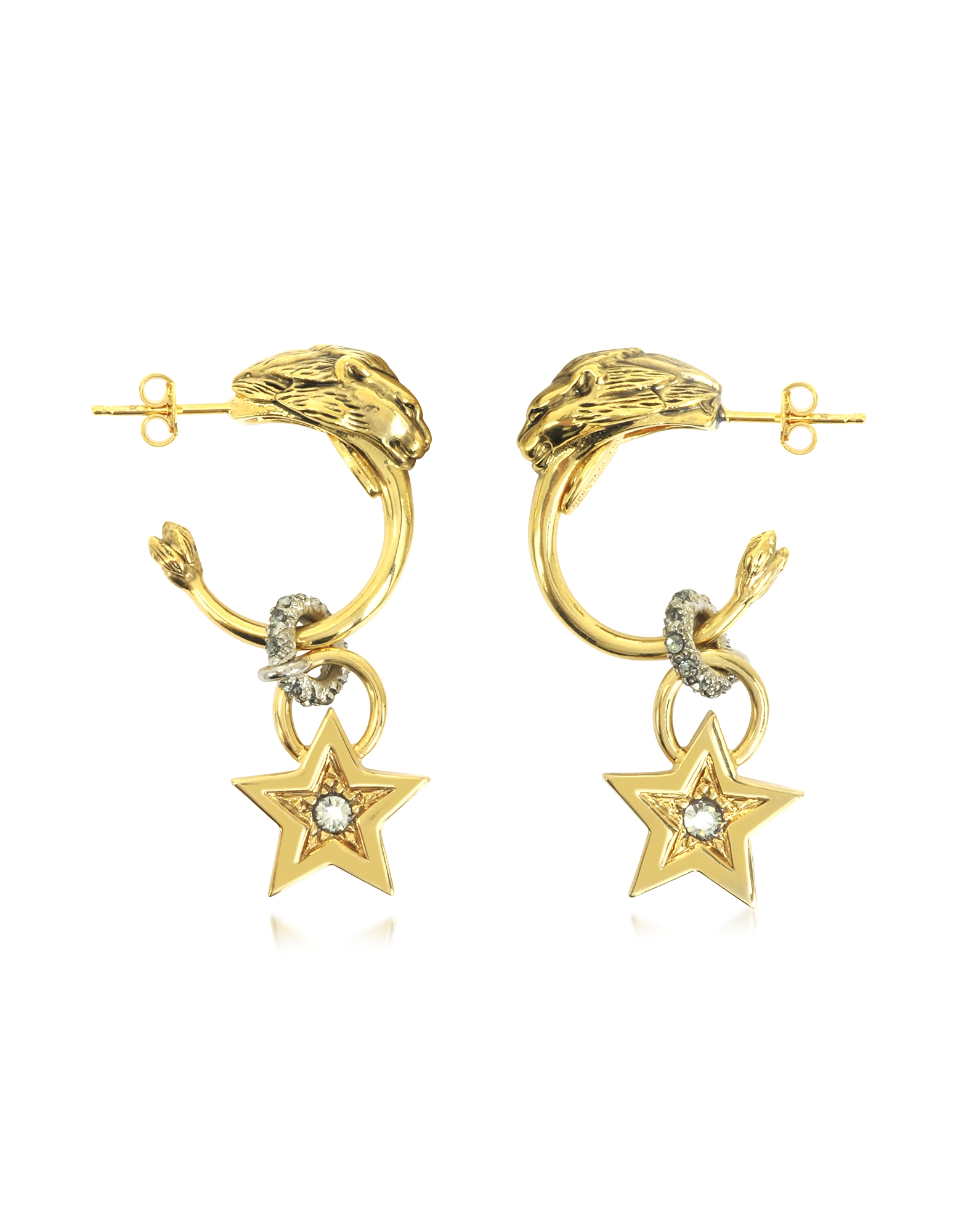 Roberto Cavalli Earrings, Circus Golden Metal Earrings w/Crystals