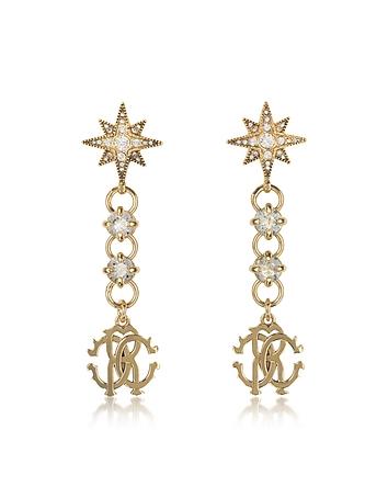 Roberto Cavalli - Icon Golden Star Earrings w/Crystals