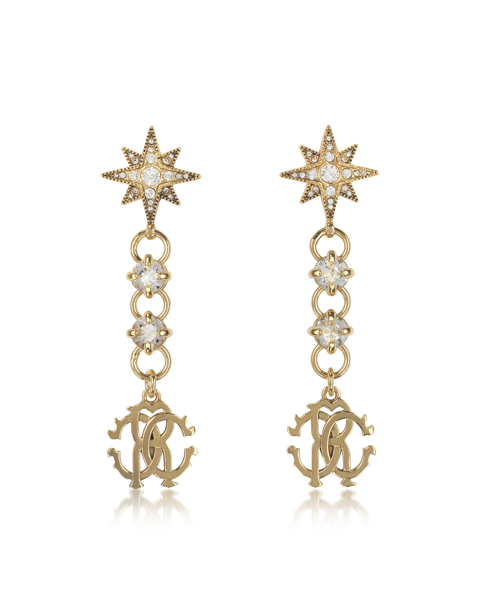 Roberto Cavalli Earrings, Icon Golden Star Earrings w/Crystals