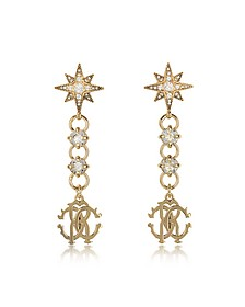 Icon Golden Star Earrings w/Crystals - Roberto Cavalli