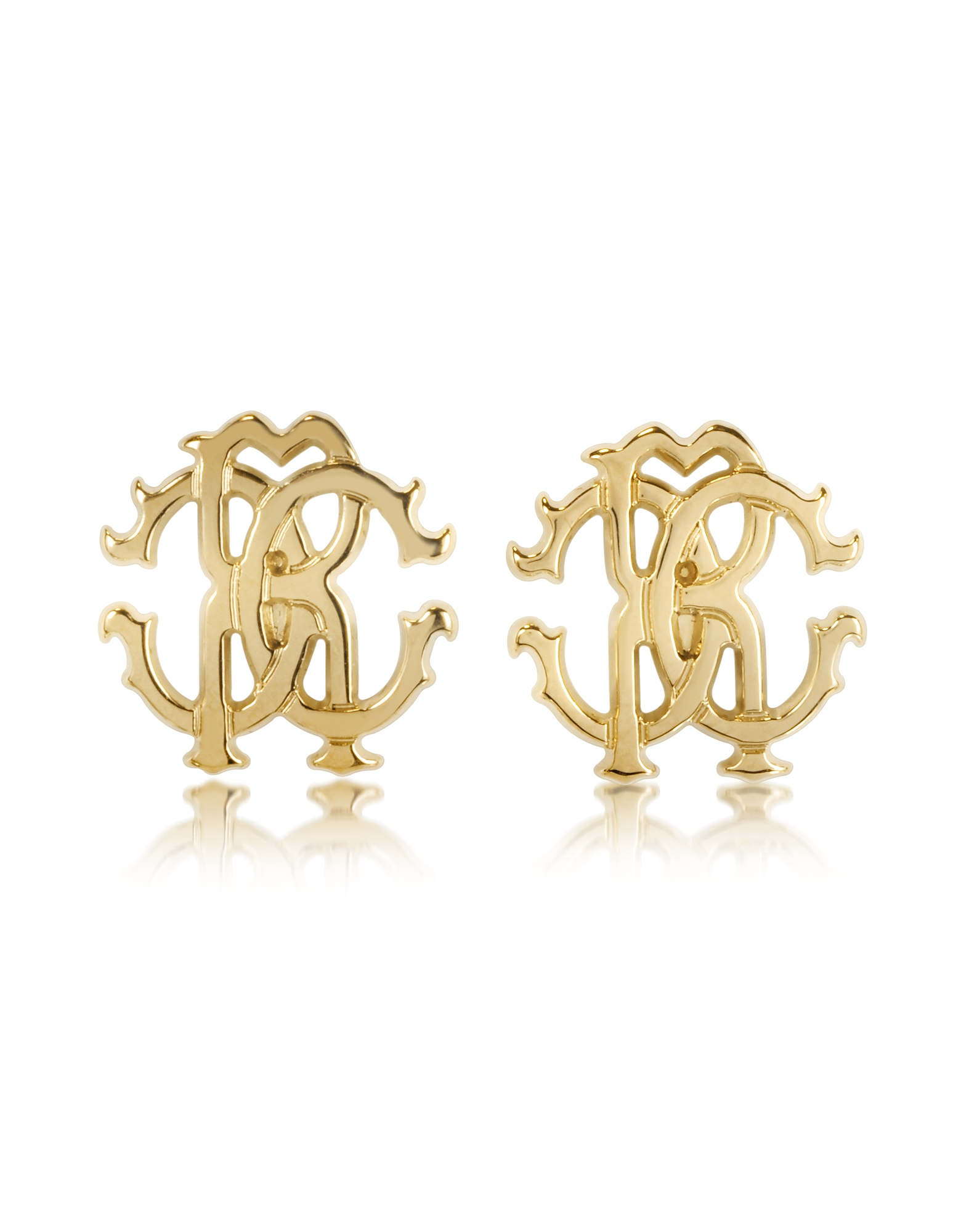 Roberto Cavalli Earrings, RC Lux Golden Stud Earrings