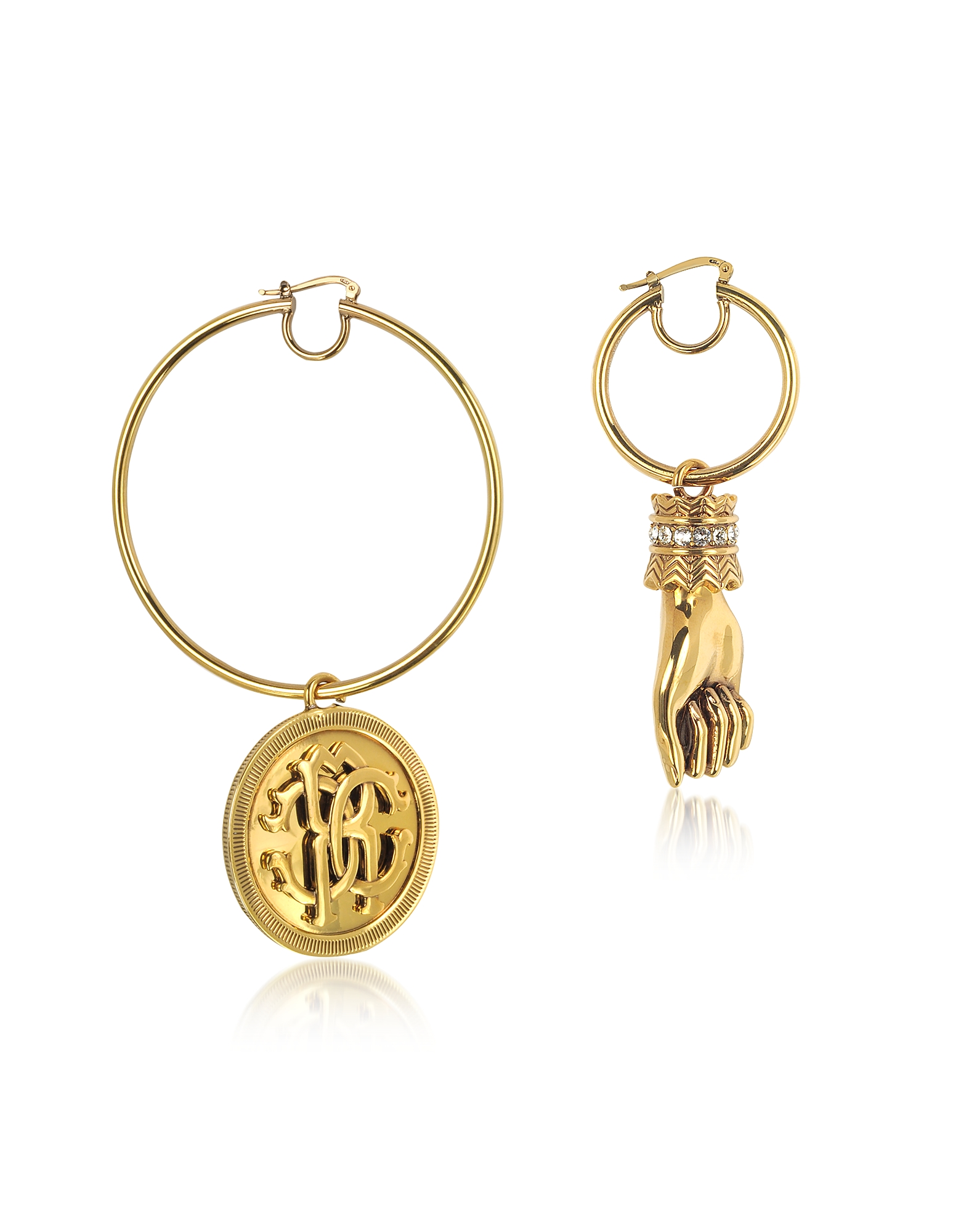 Antique Goldtone Metal Crystal Hand and Large Logo Coin Drop Earrings