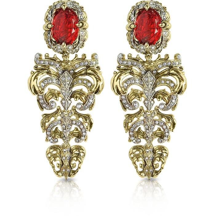 Renaissance Light Gold Tone Metal and Ruby Clip On Earrings - Roberto Cavalli