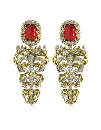 Renaissance Light Gold Tone Metal and Ruby Clip On Earrings