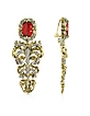 Renaissance Light Gold Tone Metal and Ruby Clip On Earrings - Roberto Cavalli / ロベルト カヴァリ