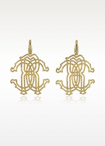 Roberto Cavalli Золотистые Серьги с Логотипом RC из Металла с Кристаллами