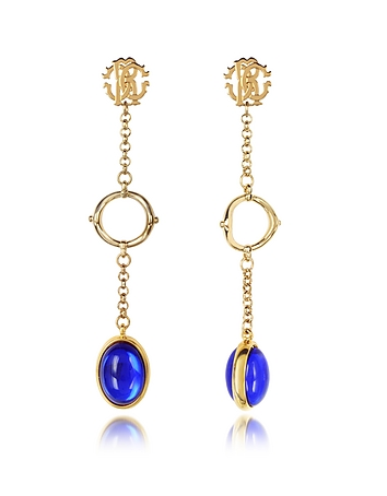 Roberto Cavalli - RC Line Gold Tone Earrings w/Deep Blue Stone