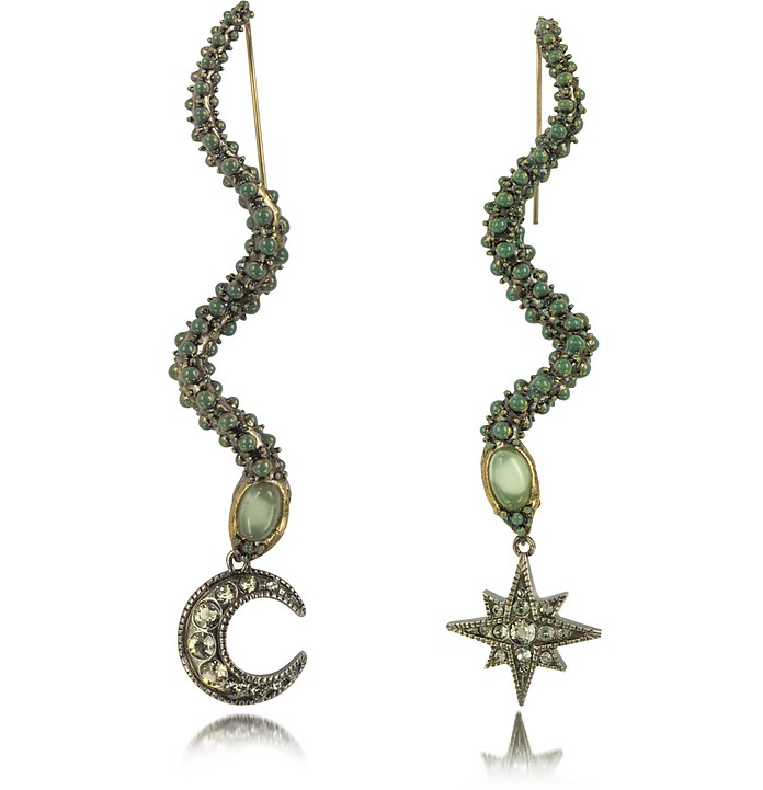 Snake Metal and Green Stone Earrings - Roberto Cavalli
