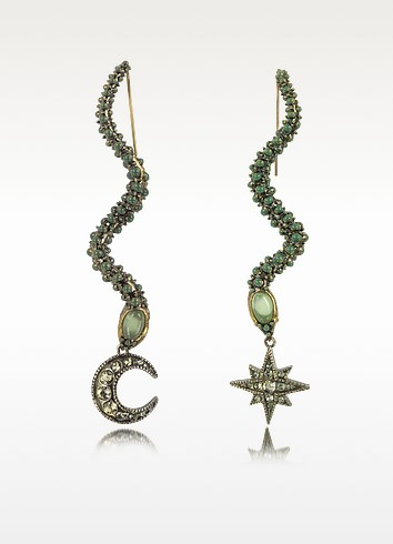 Snake Metal and Green Stone Earrings - Roberto Cavalli