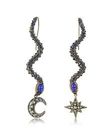 Snake Metal and Blue Stone Earrings - Roberto Cavalli