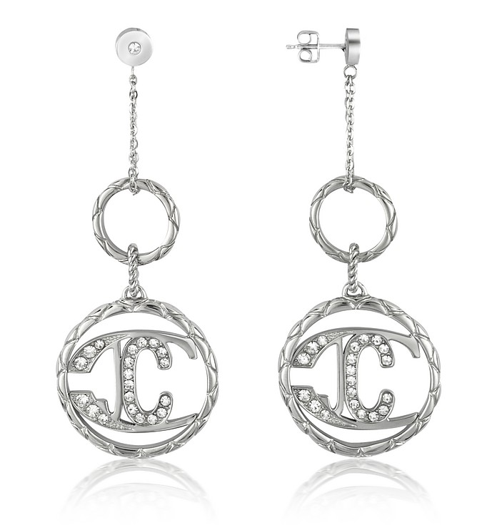 Monogram - Crystal Logo Drop Earrings - Just Cavalli
