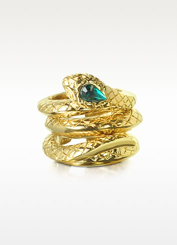 Goldtone Snake 3 Piece Ring Set - Roberto Cavalli