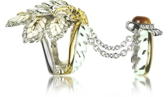 Indian Flowers Women's Double Ring - Roberto Cavalli
