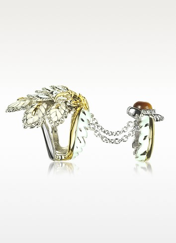 Indian Flowers Women's Double Ring - Roberto Cavalli