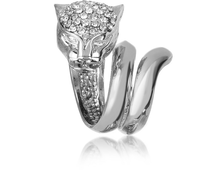 Panther Silver Metal Ring w/Crystals - Roberto Cavalli