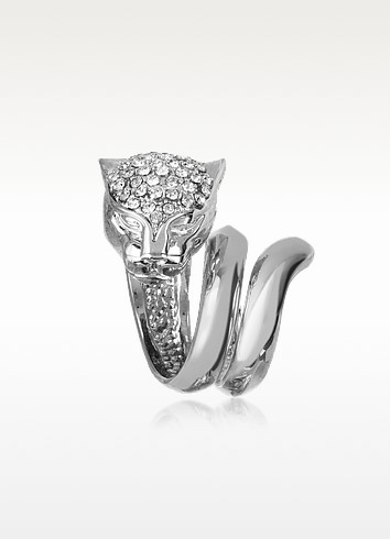 Panther Silver Metal Ring w/Crystals - Roberto Cavalli