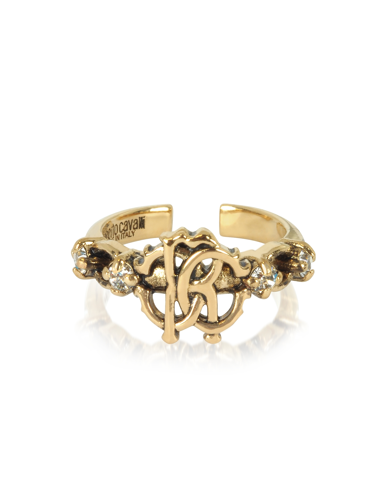 Roberto Cavalli Rings, Brushed Goldtone RC Icon Ring