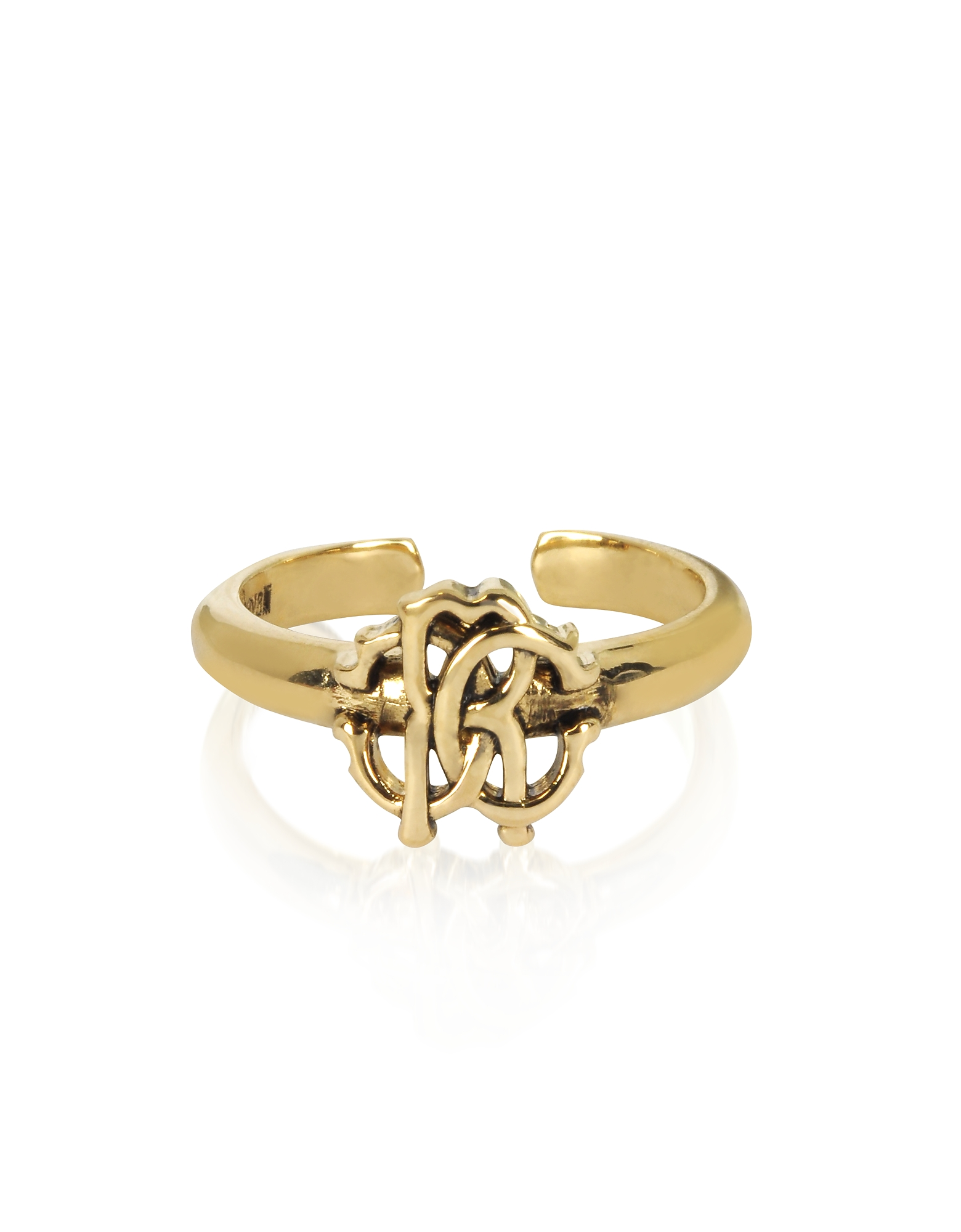 Roberto Cavalli Rings, Polished Goldtone RC Icon Ring
