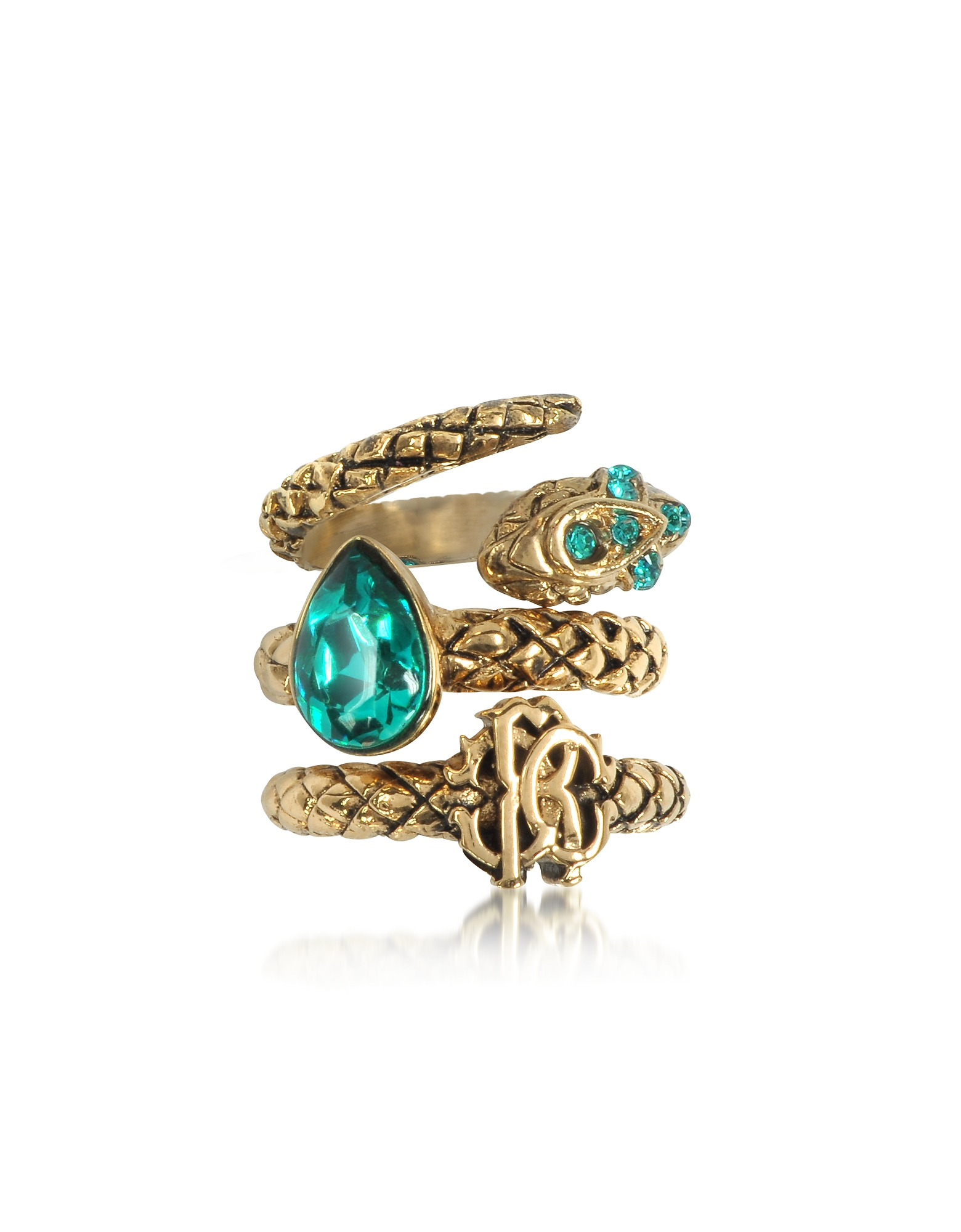 Roberto Cavalli Rings, Goldtone Metal Triple Ring w/Blue Crystals
