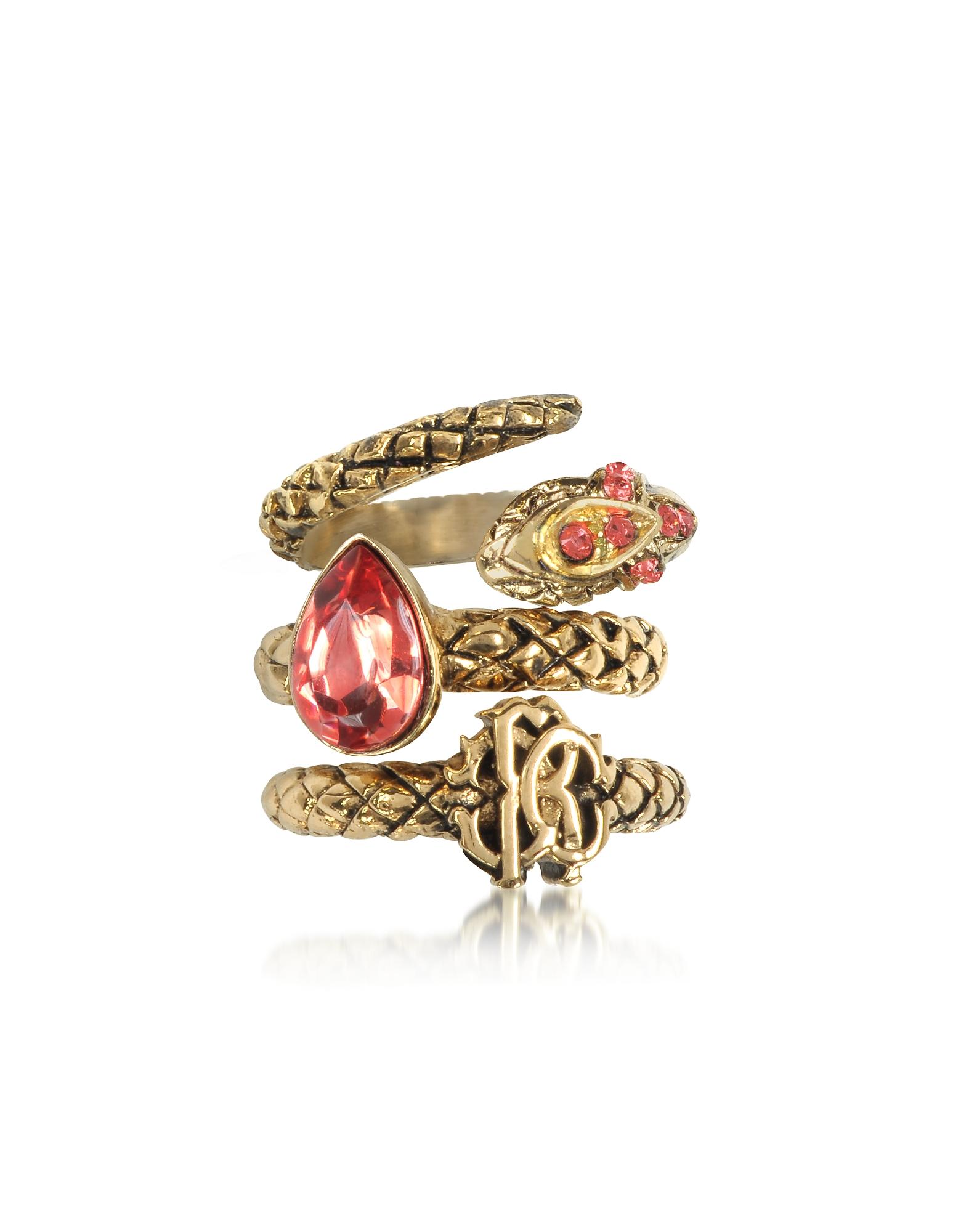 Roberto Cavalli Rings, Goldtone Metal Triple Ring w/Red Crystals