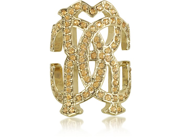 RC Icon Light Gold Ring w/Crystals - Roberto Cavalli