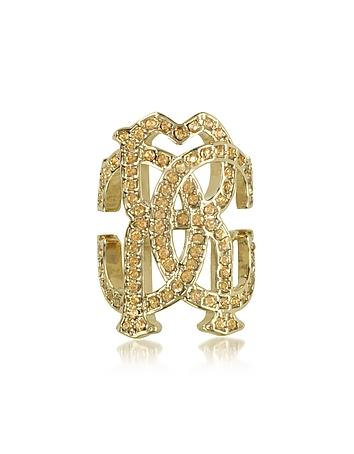 Roberto Cavalli - RC Icon Light Gold Ring w/Crystals