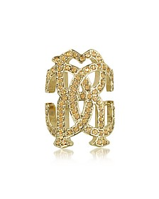 RC Icon Light Gold Ring w/Crystals - Roberto Cavalli