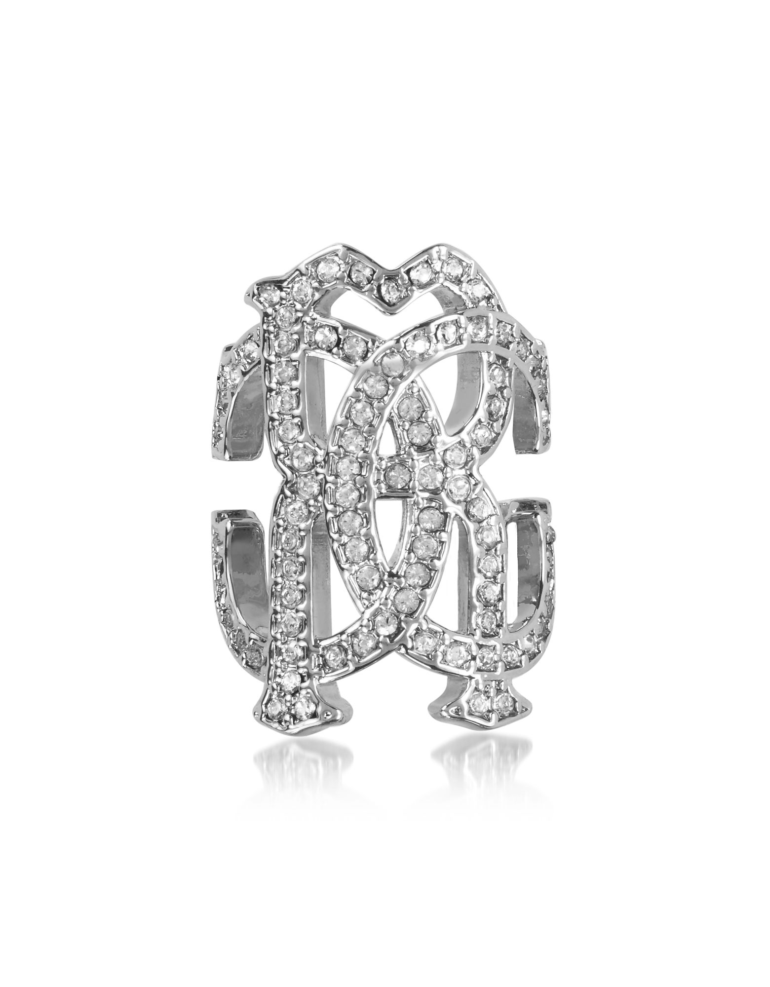Roberto Cavalli Rings, RC Icon Silvertone Ring w/Crystals