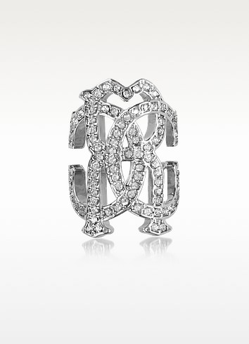 RC Icon Silvertone Ring w/Crystals - Roberto Cavalli