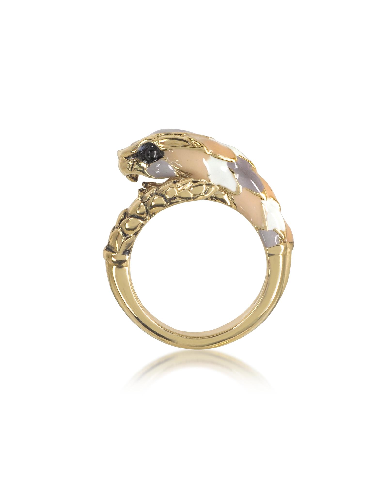 Кольцо Змея из Золотистого Металла и Разноцветной Эмали