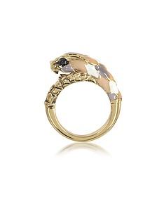 Schlangen-Ring aus goldfarbenem Metal und bunter Emaille - Roberto Cavalli