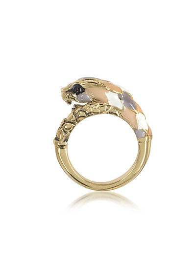 Gold Tone Metal and Multicolor Enamel Snake Ring - Roberto Cavalli