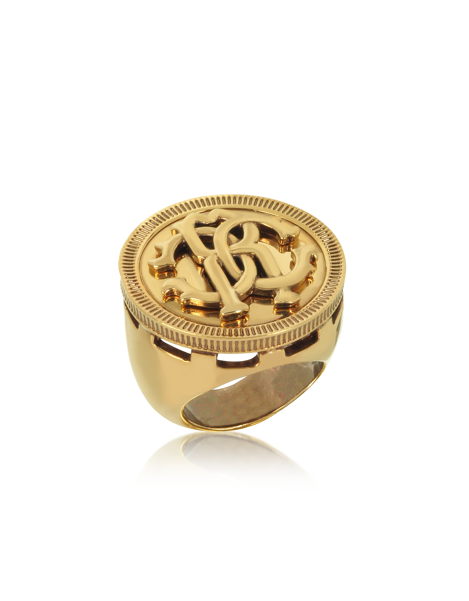 Antique Goldtone Metal Large Logo Coin Ring