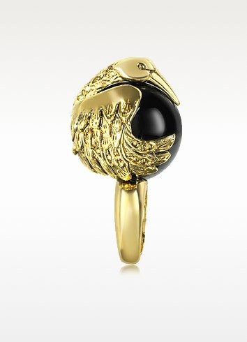 Orb Heron Metal and Plexi Ring - Roberto Cavalli
