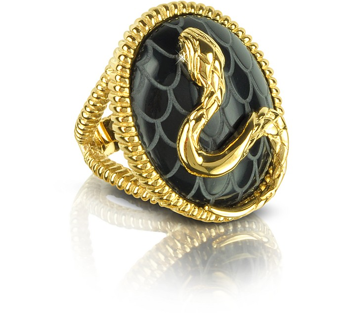 Amazonia Gold Plated and Onyx Ring - Just Cavalli