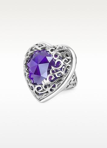 Deco' - Amethyst Crystal Heart Ring - Just Cavalli