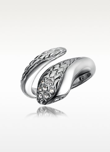 Secret - Crystal Diamondback Snake Ring - Just Cavalli
