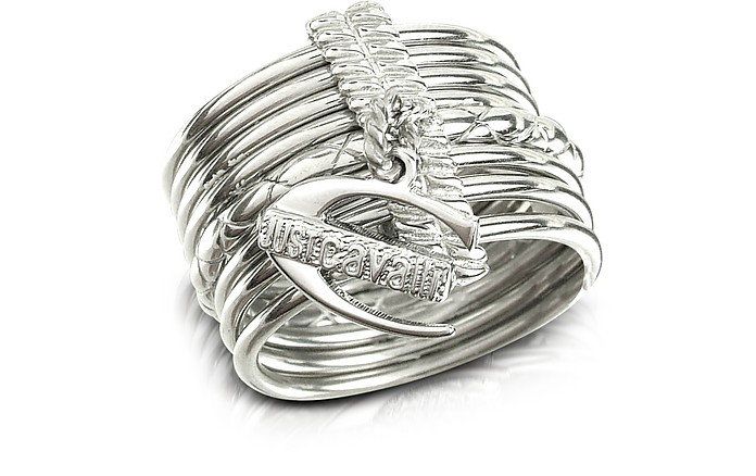 Infinity - Logo Charm Silver Plated Stacked Ring - Just Cavalli