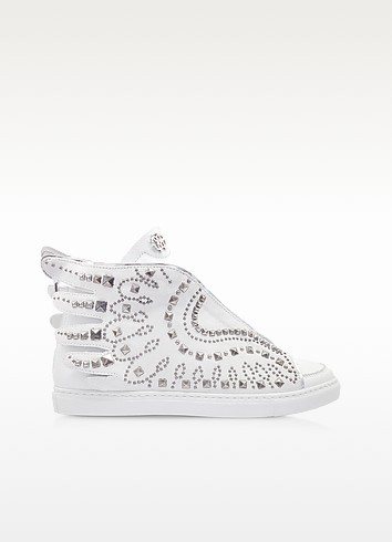 Optic White Leather Sneaker - Roberto Cavalli