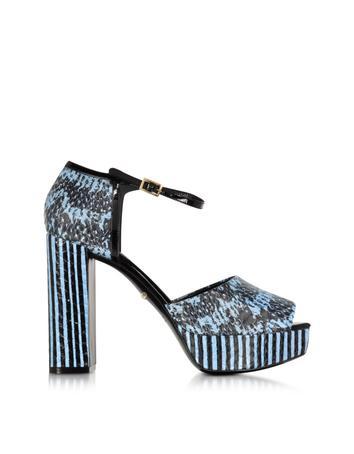 Claudia Powder Blue Elaphe Snakeskin Platform Sandal