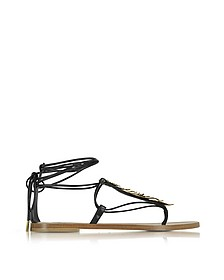 Black Leather Feather Flat Sandals - Roberto Cavalli