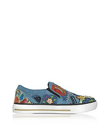 Denim Blue Embroidery Patch Flatform Sneakers - Roberto Cavalli