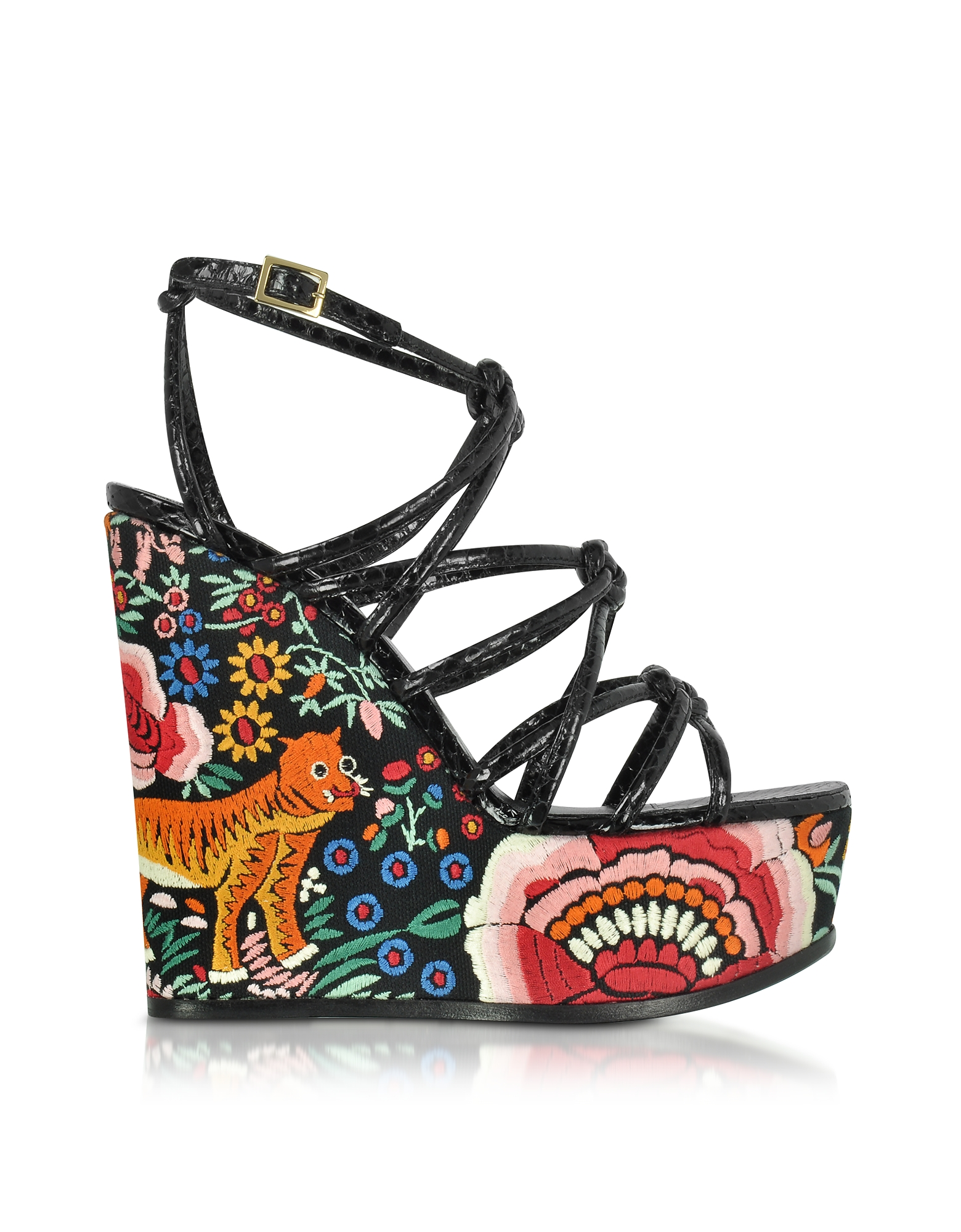 Roberto Cavalli Designer Shoes, Floral Embroidered Black Leather Wedges