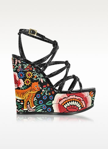 Floral Embroidered Black Leather Wedges - Roberto Cavalli